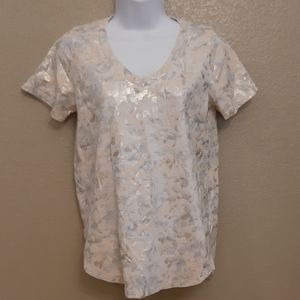 Anthropologie | Sol Angeles Foiled Floral Tee